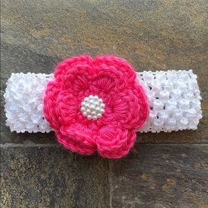 Stretch Headband with Crocheted Flower